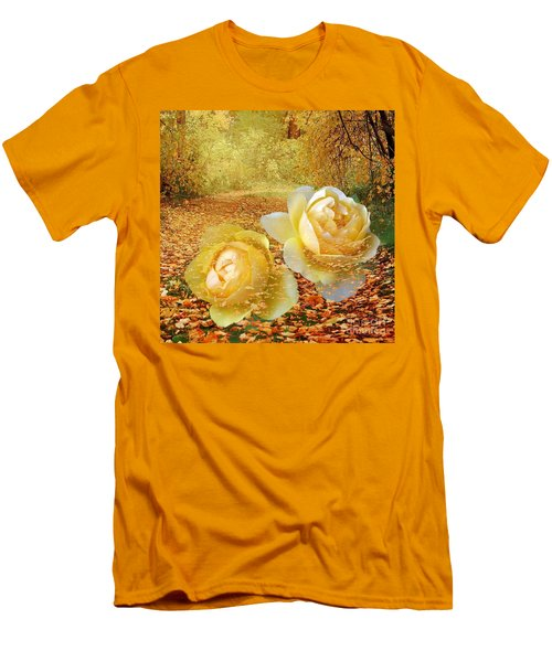 Men's T-Shirt (Slim Fit) featuring the photograph Roses In The Woods In Autumn by Annie Zeno