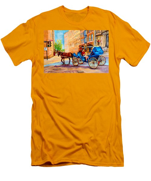 Men's T-Shirt (Slim Fit) featuring the painting Rue Notre Dame Caleche Ride by Carole Spandau