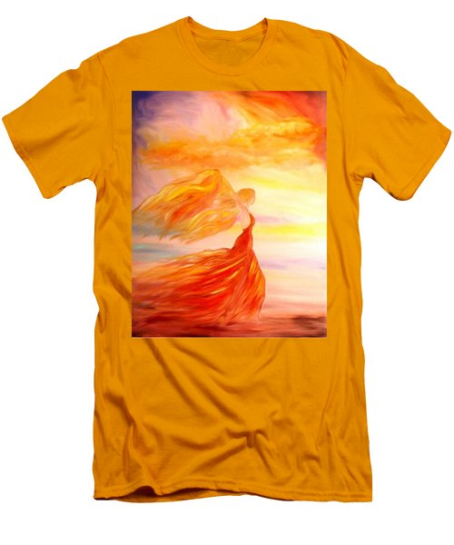 Men's T-Shirt (Slim Fit) featuring the painting Running Along The Beach by Lilia D