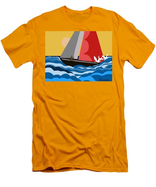 Sail Day Men's T-Shirt (Slim Fit) by Christine Fournier