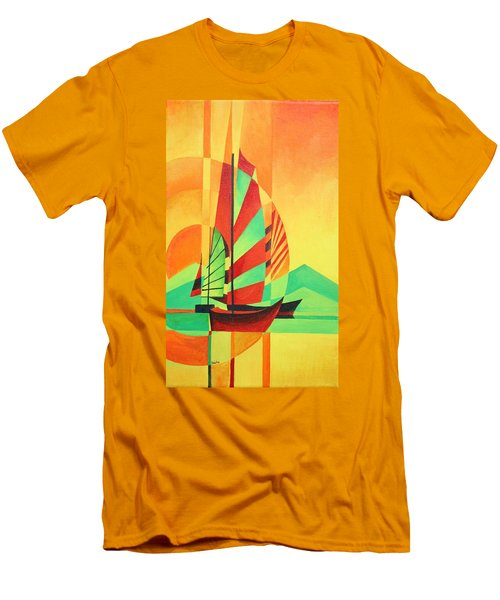 Men's T-Shirt (Slim Fit) featuring the painting Sail To Shore by Tracey Harrington-Simpson