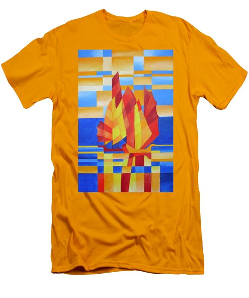 Men's T-Shirt (Slim Fit) featuring the painting Sailing On The Seven Seas So Blue by Tracey Harrington-Simpson