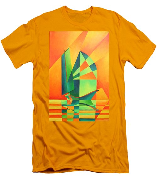 Men's T-Shirt (Slim Fit) featuring the painting Sails At Sunrise by Tracey Harrington-Simpson