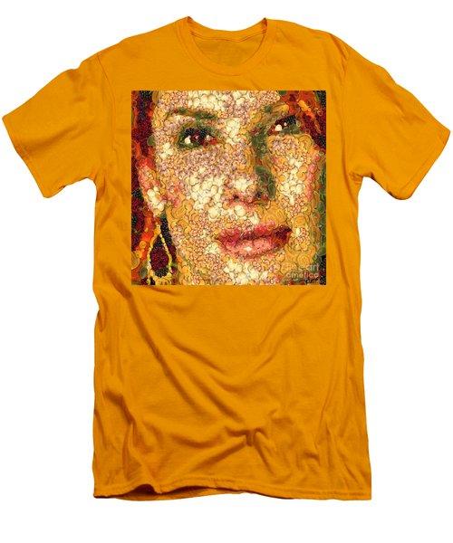 Men's T-Shirt (Slim Fit) featuring the digital art Sandra Bullock In The Way Of Arcimboldo by Dragica  Micki Fortuna