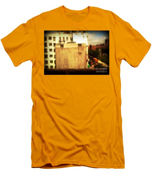 Men's T-Shirt (Slim Fit) featuring the photograph School Bus With White Building by Miriam Danar
