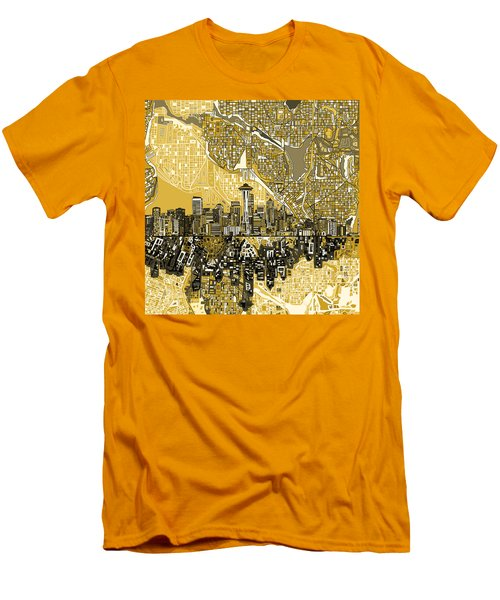 Seattle Skyline Abstract 2 Men's T-Shirt (Athletic Fit)