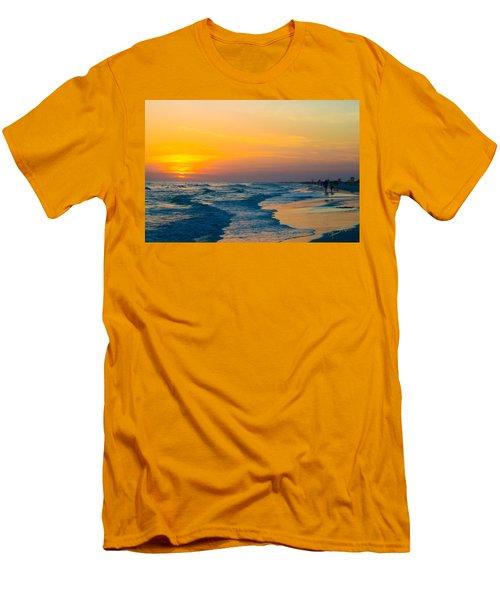Siesta Key Sunset Walk Men's T-Shirt (Slim Fit) by Susan Molnar