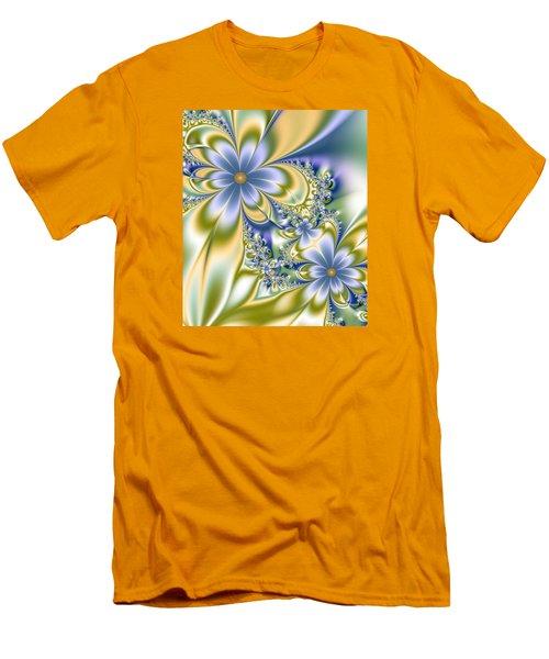 Men's T-Shirt (Slim Fit) featuring the digital art Silky Flowers by Svetlana Nikolova