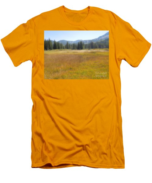 Men's T-Shirt (Slim Fit) featuring the photograph Silver Lake Area Big Cottonwood Canyon Utah by Richard W Linford