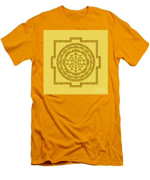 Sri Yantra In Gold Men's T-Shirt (Slim Fit) by Olga Hamilton