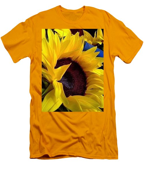 Men's T-Shirt (Slim Fit) featuring the photograph Sunflower Sunny Yellow In New Orleans Louisiana by Michael Hoard
