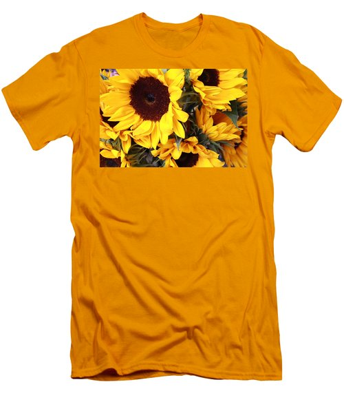 Men's T-Shirt (Slim Fit) featuring the photograph Sunflowers by Dora Sofia Caputo Photographic Art and Design