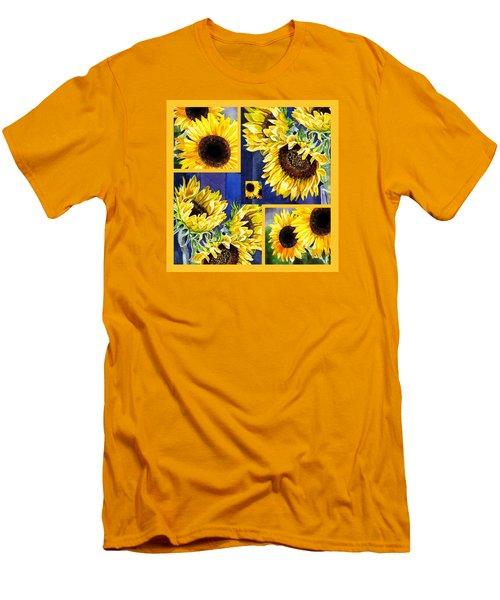 Men's T-Shirt (Slim Fit) featuring the painting Sunflowers Sunny Collage by Irina Sztukowski