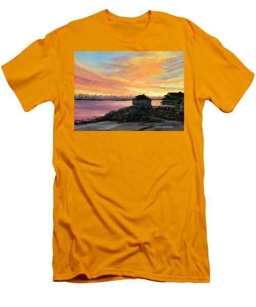 Sunrise Long Beach Rockport Ma Men's T-Shirt (Slim Fit) by Eileen Patten Oliver