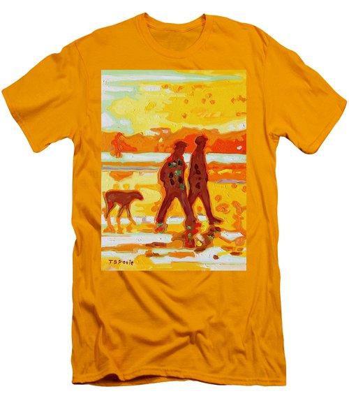 Sunset Silhouette Carmel Beach With Dog Men's T-Shirt (Slim Fit) by Thomas Bertram POOLE