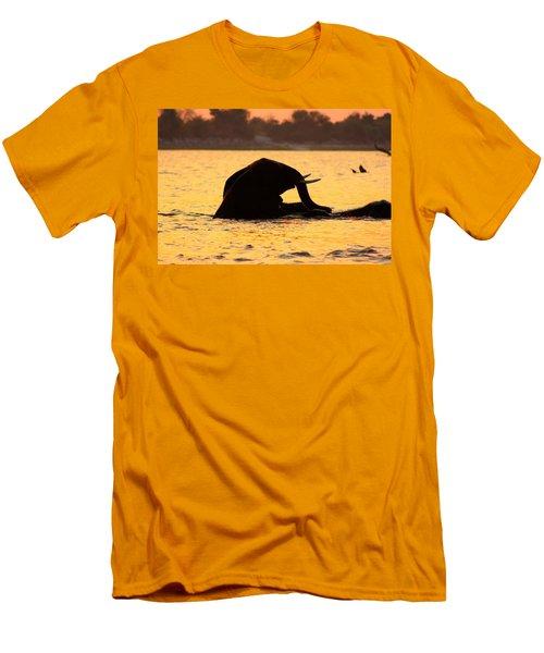 Men's T-Shirt (Slim Fit) featuring the photograph Swimming Kalahari Elephants by Amanda Stadther