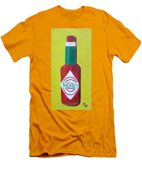 Men's T-Shirt (Slim Fit) featuring the painting Tabasco Brand Pepper Sauce by Margaret Harmon