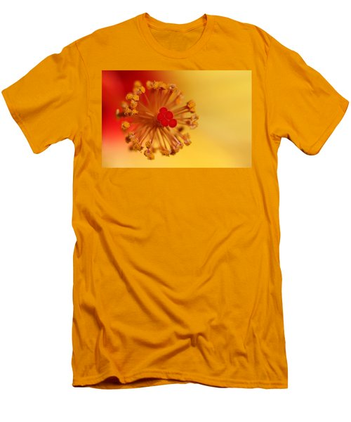 The Center Of The Hibiscus Flower Men's T-Shirt (Slim Fit) by Debbie Oppermann