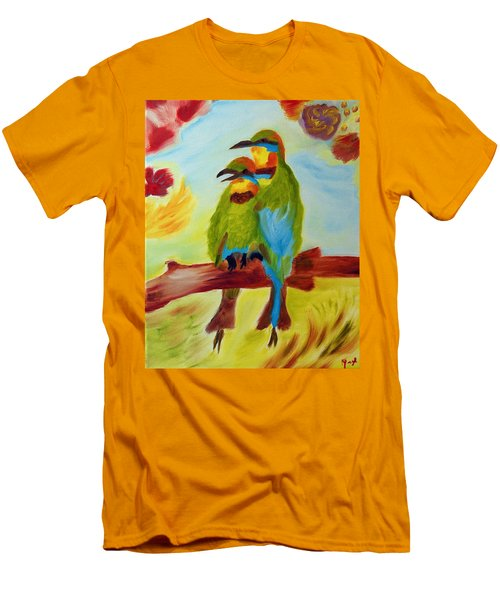 Men's T-Shirt (Slim Fit) featuring the painting Together by Meryl Goudey