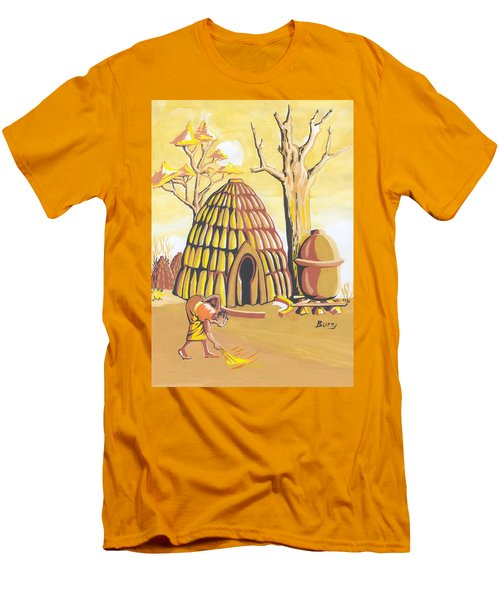 Men's T-Shirt (Slim Fit) featuring the painting Traditional House Massa Northern Cameroon by Emmanuel Baliyanga