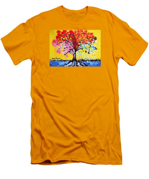 Men's T-Shirt (Slim Fit) featuring the painting Tree Of Life by Ramona Matei