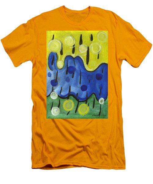 Men's T-Shirt (Slim Fit) featuring the painting Tropical Rain by Stephen Lucas