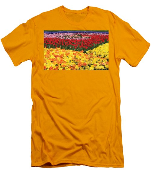 Men's T-Shirt (Slim Fit) featuring the digital art Tulip Field by Tim Gilliland