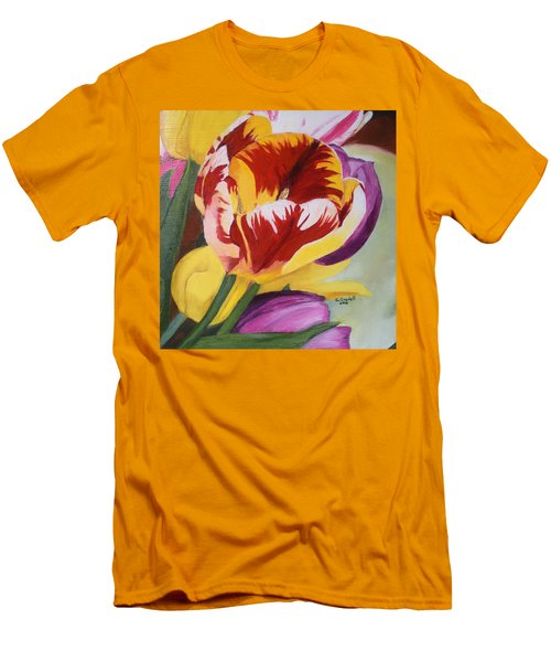 Tulips Men's T-Shirt (Slim Fit) by Claudia Goodell