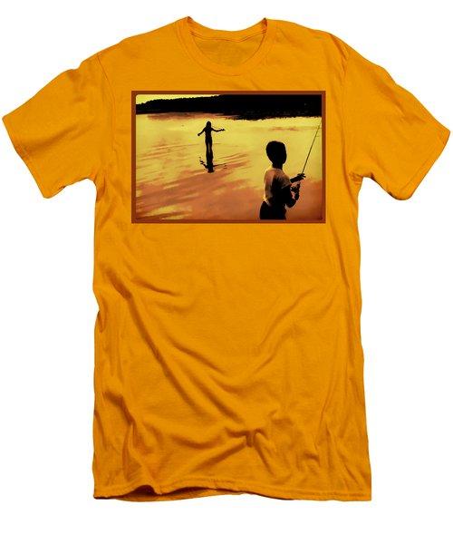 Men's T-Shirt (Slim Fit) featuring the photograph Twilight Fishing by John Hansen