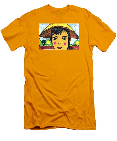 Men's T-Shirt (Slim Fit) featuring the drawing Vietnamese Girl  With Blue Eyes by Don Koester