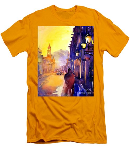 Watercolor Painting Of Street And Church Morelia Mexico Men's T-Shirt (Athletic Fit)