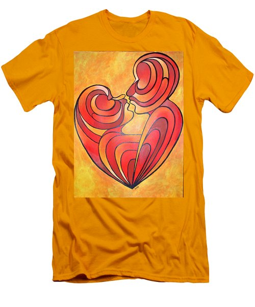 Men's T-Shirt (Slim Fit) featuring the painting We Two Are One by Tracey Harrington-Simpson