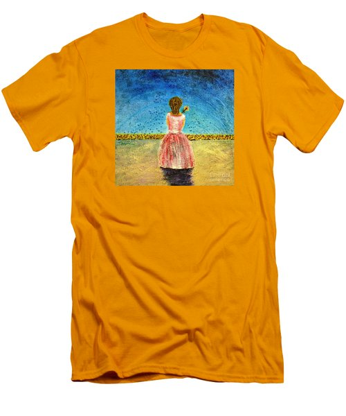 Men's T-Shirt (Slim Fit) featuring the painting Where Angels Sleep by Therese Alcorn