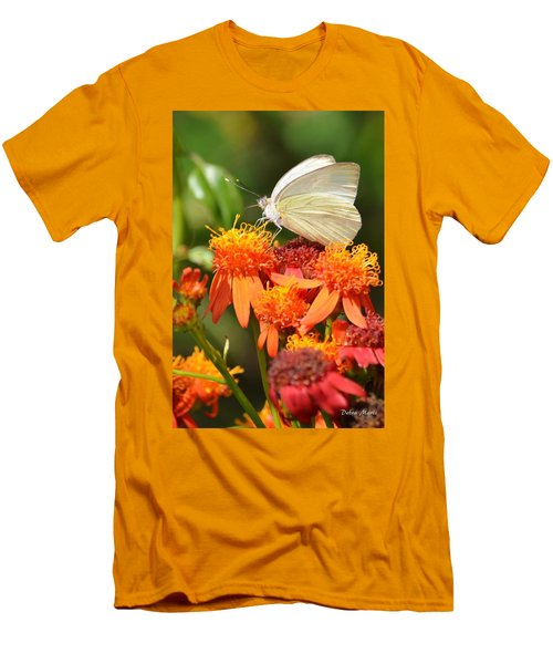 White Butterfly On Mexican Flame Men's T-Shirt (Athletic Fit)