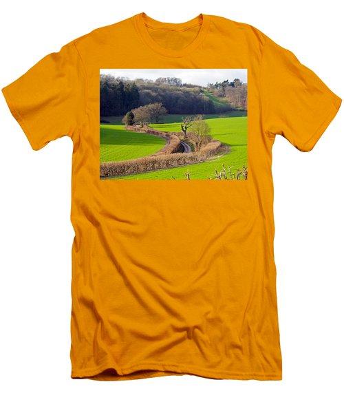 Winding Country Lane Men's T-Shirt (Slim Fit) by Tony Murtagh