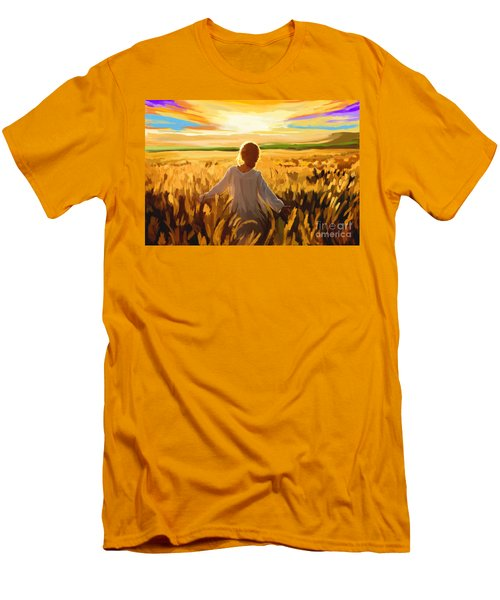 Woman In A Wheat Field Men's T-Shirt (Slim Fit)