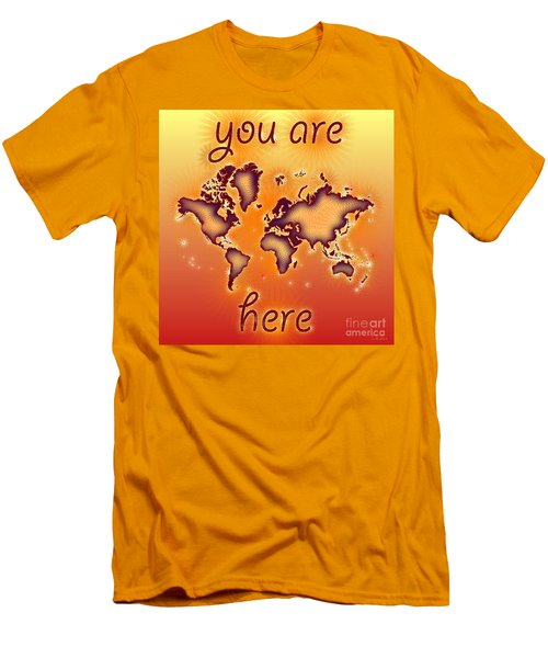 World Map You Are Here Amuza In Red Yellow And Orange Men's T-Shirt (Slim Fit) by Eleven Corners