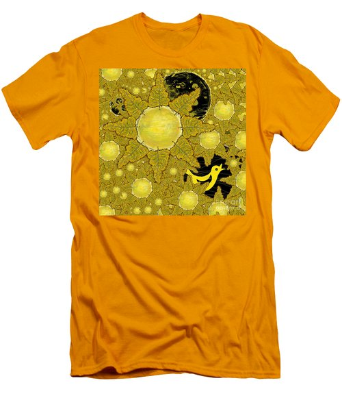Yellow Bird Sings In The Sunflowers Men's T-Shirt (Slim Fit) by Carol Jacobs