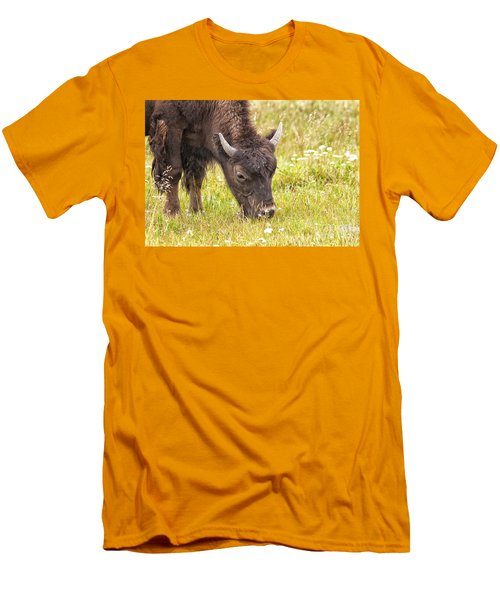 Men's T-Shirt (Slim Fit) featuring the photograph Young Bison by Belinda Greb