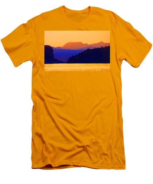 Agua Verde Abstract Men's T-Shirt (Slim Fit) by Anne Mott