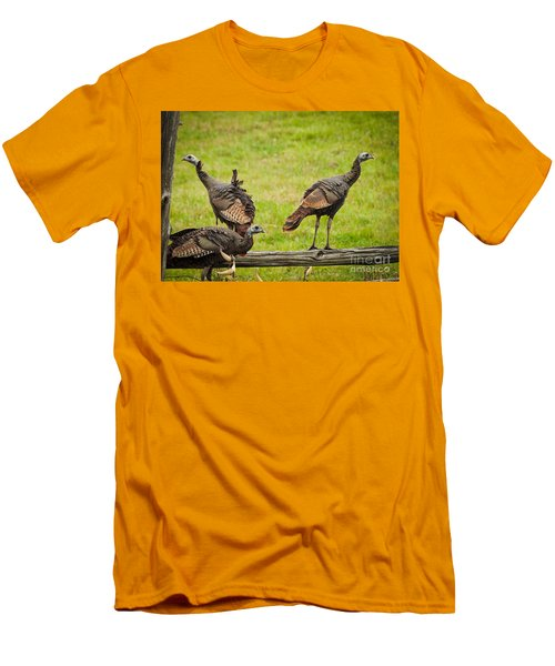 Men's T-Shirt (Slim Fit) featuring the photograph Bunch Of Turkeys by Cheryl Baxter