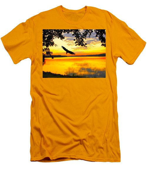 Men's T-Shirt (Slim Fit) featuring the photograph Eagle At Sunset by Randall Branham