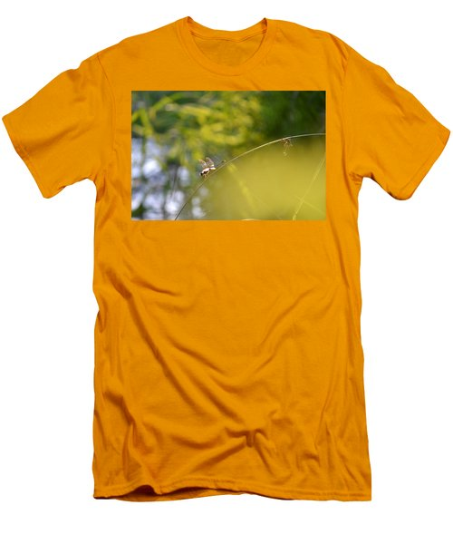 Men's T-Shirt (Slim Fit) featuring the photograph Pond-side Perch by JD Grimes