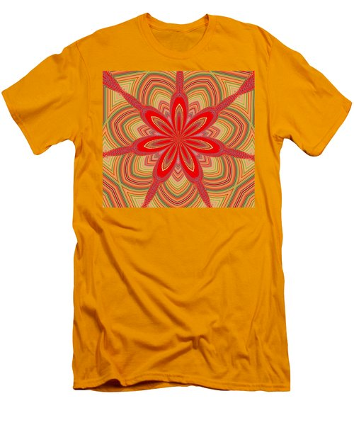 Men's T-Shirt (Slim Fit) featuring the digital art Red Star Brocade by Alec Drake