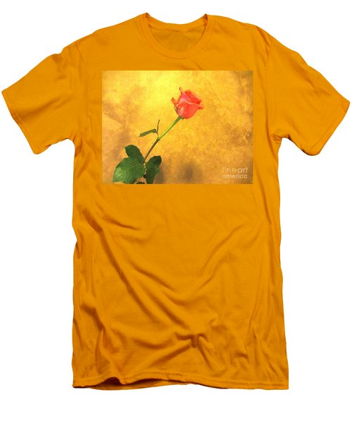 Men's T-Shirt (Slim Fit) featuring the photograph Rose On Leather by Susan Carella