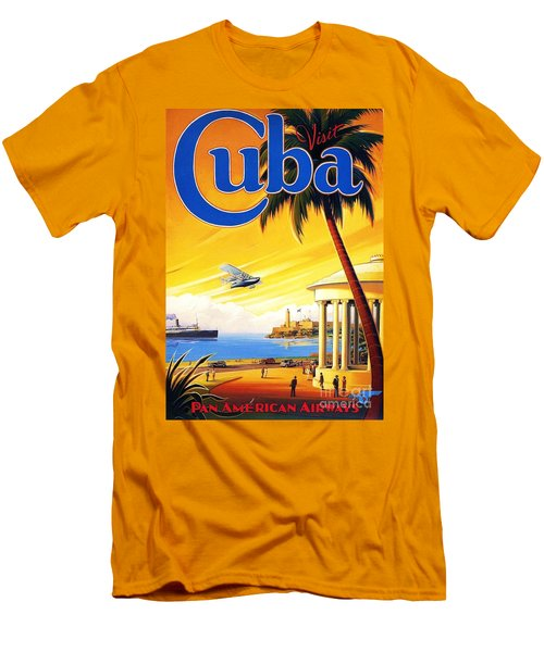 Men's T-Shirt (Slim Fit) featuring the painting Visit Cuba by Reproduction