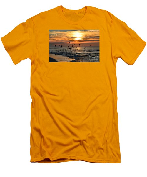 0221 Gang Of Gulls At Sunrise On Navarre Beach Men's T-Shirt (Athletic Fit)