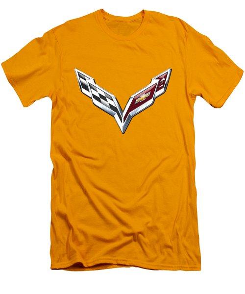 Chevrolet Corvette 3d Badge On Yellow Men's T-Shirt (Slim Fit)