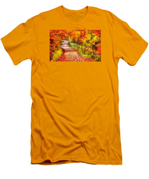 Fall Foliage Path 2 Men's T-Shirt (Slim Fit) by Caito Junqueira