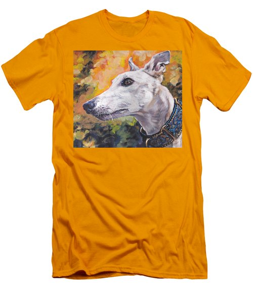 Men's T-Shirt (Slim Fit) featuring the painting Greyhound Portrait by Lee Ann Shepard